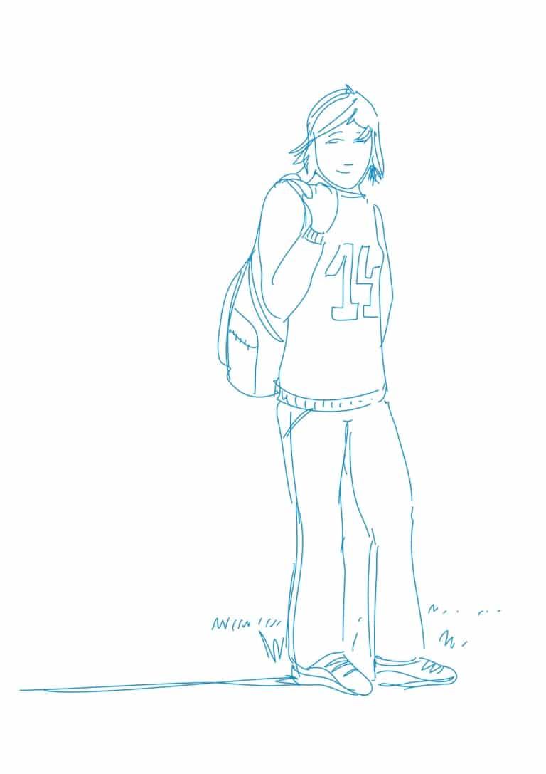 Illustration: Mädchen mit Rucksack