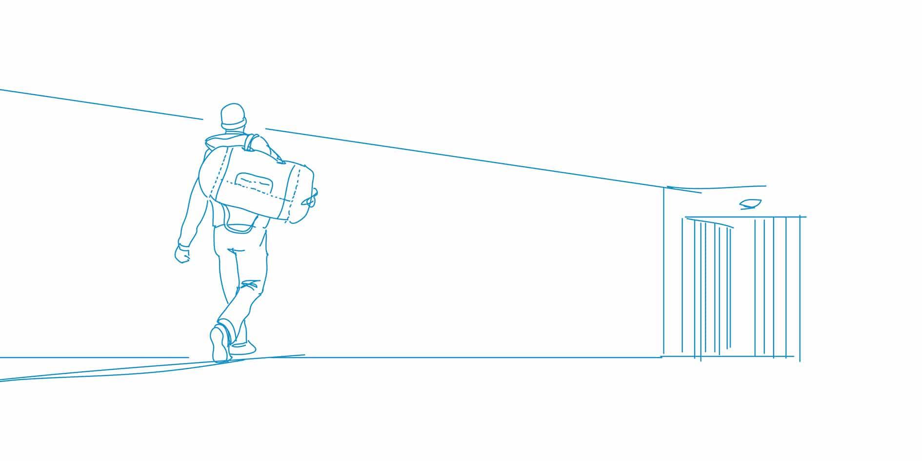 Illustration: Mann geht auf Tür zu