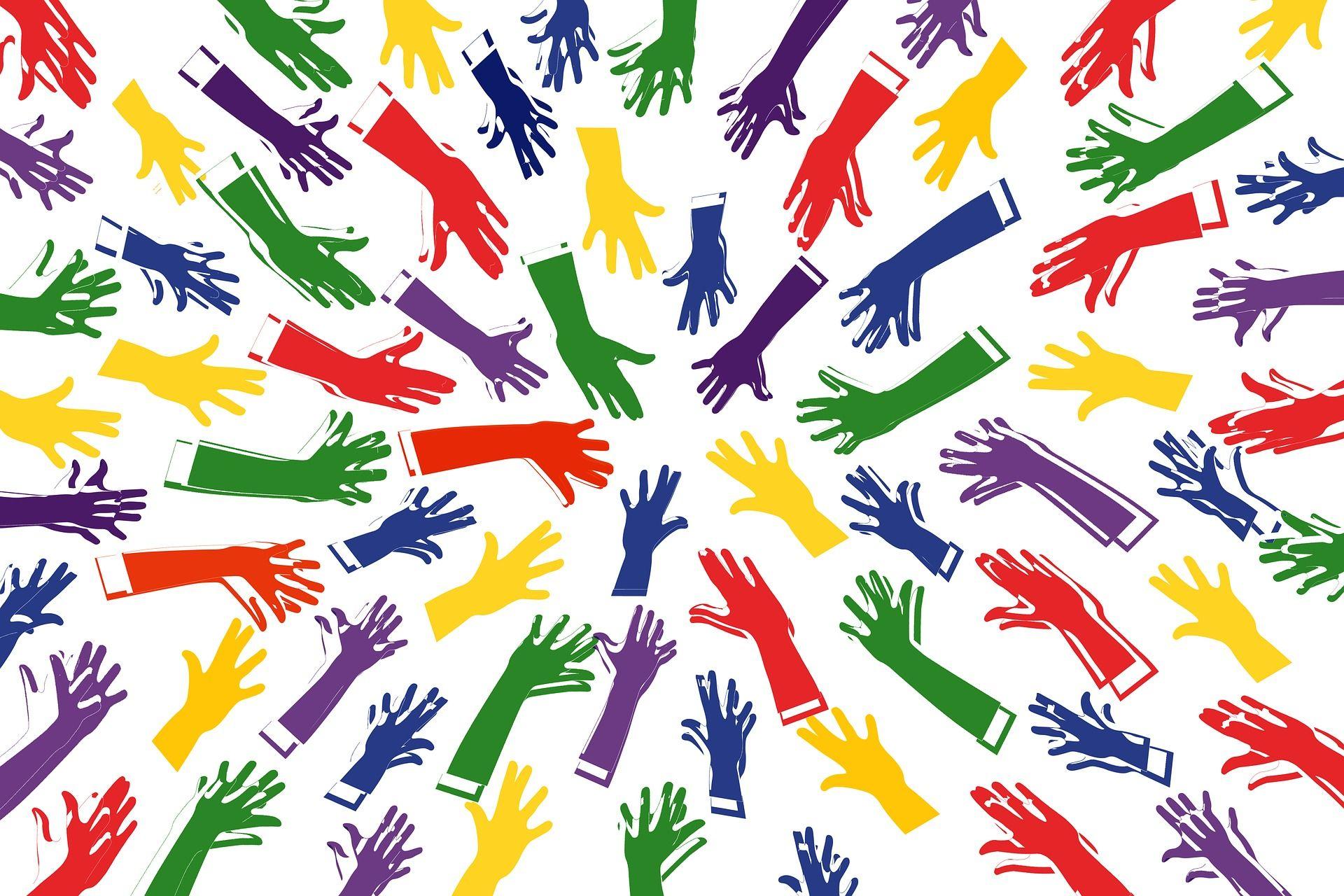 Viele bunte Hände